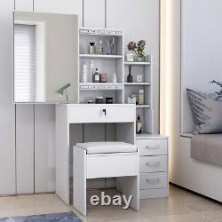 Dressing Table Set Vanity Stool Makeup Desk Slid Mirror 4 Tiroir Dresser Chambre