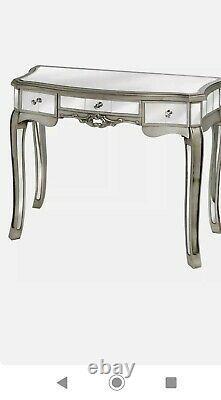 Dressing Table/console Table Miroir Verre Antique Effet Argent