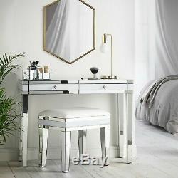 Embellissez Mirrored Coiffeuse Avec 2 Poignées Blanc Tiroirs Et Cristal