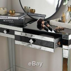 Embellissez Mirrored Noir Coiffeuse / Console / Vanity / Bureau 2 Tiroirs De Rangement