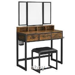 Ensemble De Table De Vanité Avec Le Tabouret, Table De Maquillage Avec Le Miroir De Tri-pli, Dressing