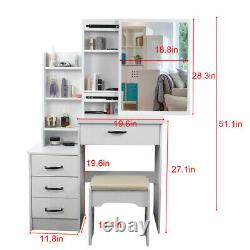Ensemble Moderne De Miroir Coulissant De Bureau De Tabouret Blanc De Dressing De Table Et 4 Tiroirs