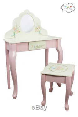 Epuisé Fantaisie Fields Bouquet Enfants Tabouret Vanity En Bois Coiffeuse Miroir W