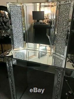 Étincelle Paillettes Coiffeuse Diamant Écrasé Et Jeu De Miroirs, Vanity Set