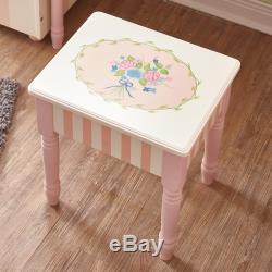 Fantasy Fields Bouquet Enfants Tabouret Vanity En Bois Coiffeuse Miroir W3843g