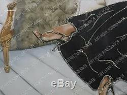 Figuratif / Dame En Robe Noire Avec Des Cristaux Liquides, Art & Cadre De Miroir