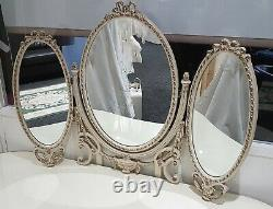 Français Louis Kidney Shaped Glass Top Ivory - Gold Dressing Table With Mirrors