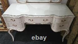 Français Louis Style Glass Top Ivory & Antique Gold Dressing Table Avec Miroirs