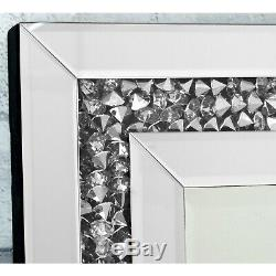 Gatsby Cristal De Diamant De Verre Cadre Longue Robe Miroir Mural 120 X 40 CM / 48 X 16