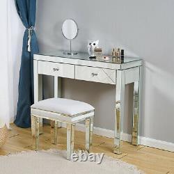 Glass Silver Mirrored 2 Tiroir Hallway Console Table D'affichage Hall Table D'habillage