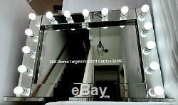 Grand Haut De Gamme Autoportant 15 Ampoule Led Argent Hollywood Style Miroir Dressing