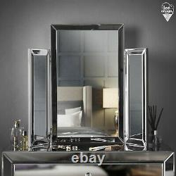 Grey Tri Fold Desktop Triple Mirror Bevelled Glass Vanity Dressing Table Chambre