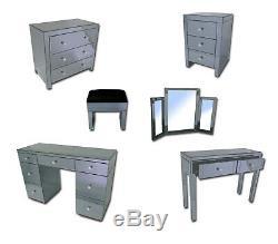 Grey Verre Mirrored Mobilier Coiffeuse Chambre Console Biseautés Vénitien