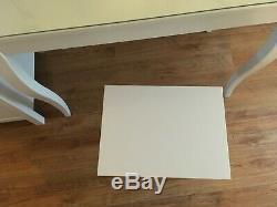 Hemnes Ikea Pansement Tablewhite, Avec Miroir Supérieur En Verre + + Tabouret