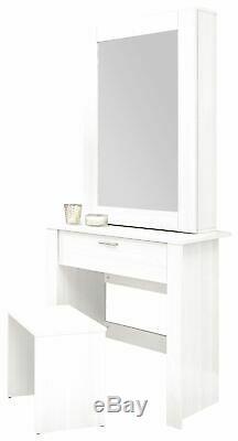 Hobson Mirrored Coiffeuse Set Unité Maquillage Commode Bureau Tiroir Et Blanc Tabouret