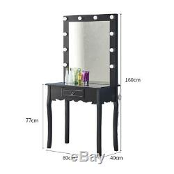 Hollywood Blanc / Noir Table Dressing Avec Les Lumières Vanity Miroir De Maquillage Moderne Au Royaume-uni