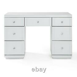 Hollywood Coiffeuse Blanc En Verre 7 Tiroirs Vanity Commode Chambre Moderne