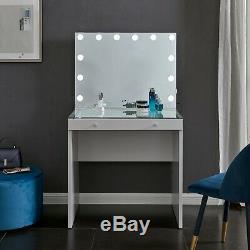 Hollywood Mirror & Coiffeuse Vanity Set Ampoule Led Lumineux Blancs En Verre Top