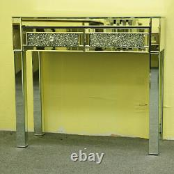 Hot 2 Drawers Sparkly Crystal Dressing Table Mirrored Glass Dresser Vanity Table