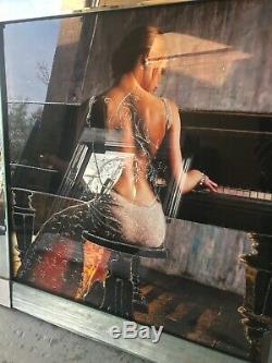 Lady Playing Piano 3d Glitter Image Dans Le Cadre Miroir, Pianiste En Robe