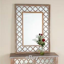 Lattice Chêne Cérusé Bois Et Verre Mirrored Mur Coiffeuse Miroir
