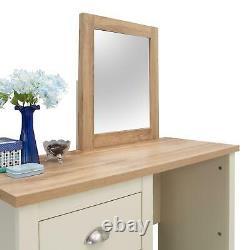 Lisbon Dressing Table 3 Tiroir Set Crème Vanity Makeup Bureau Tabouret Miroir