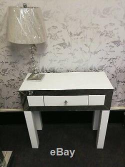 Lux Garniture En Verre Blanc Miroir D'un Tiroir Chambre Coiffeuse Console