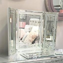 Madison Gris Argent En Verre Vanity Tri-pliant Coiffeuse Miroir Autoportant