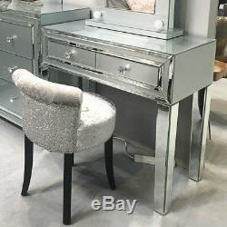 Madison Gris Verre & Argent Miroir Garniture 2 Tiroirs Coiffeuse Salle Console