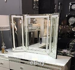 Madison Verre Blanc Vanity Tri-pliant Coiffeuse Miroir Autoportant