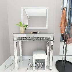 Magnifique Miroir Dressing Table Glass 2 Tiroirs Vanity Table / Tabouret En Cuir