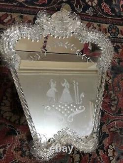 Magnifique Vénitien Italien Murano Antique Table De Dressing Miroir