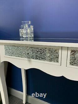Margot 2 Tiroir Blanc Miroir Mosaïque Crackle Console Dressing Hall Table