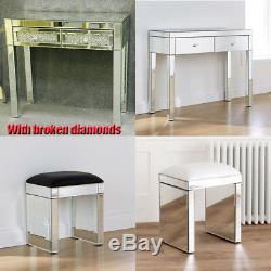 Meubles En Verre Mirror 2 Tiroirs Coiffeuse Tabouret (withb) Et Verre Set Desk