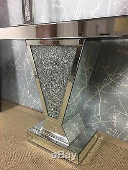 Miroir Argent Mousseux Concassée Cristal Glitz V Console Affichage Coiffeuse