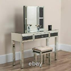 Miroir Broyé Diamond Dressing Table Mirror Stool Set Vanity Makeup Bedroom