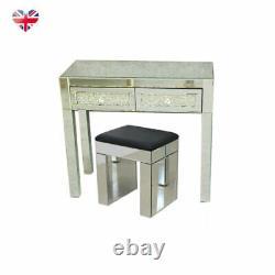 Miroir Dressing Table Vanity Dresser Tabouret Chambre 2 Tiroirs Wood Makeup Desk