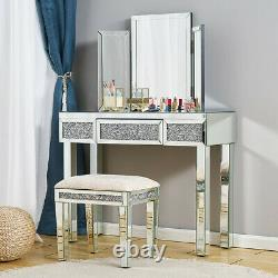 Miroir En Verre Dressing Table Stool Mirror Console Makeup Desk Vanity Bedroom Uk