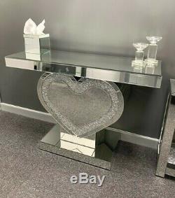 Miroir Étincelant Crushed Cristal Glitz Coeur Console D'affichage Coiffeuse
