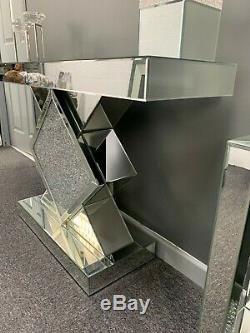 Miroir Mousseux Diamant Crushed Cristal Console Chambre D'affichage Coiffeuse