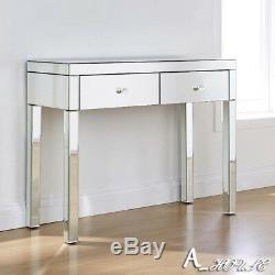 Mirror 2 Tiroirs Coiffeuse Chambre Console Vanity Bureau De Maquillage Au Royaume-uni
