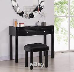 Mirrored Coiffeuse Avec 2 Tabourets De Tiroir Transparent Ou Miroir Noir New Furniture