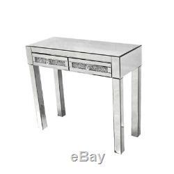Mirrored Coiffeuse En Verre Commode Avec 2 Tiroirs Console Make Up Desk / Tabouret
