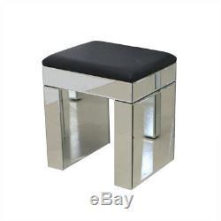 Mirrored Cristal Meubles En Verre Coiffeuse 2 Tiroirs Et Console Tabouret Royaume-uni