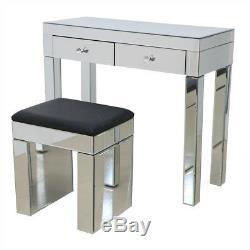 Mirrored Cristal Meubles En Verre Coiffeuse Avec 2 Tiroirs Console Chambre
