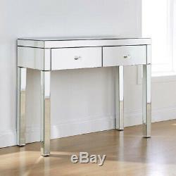 Mirrored Deux Tiroirs Coiffeuse Chambre Console Vanity Bureau De Maquillage Uk