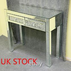 Mirrored Glass Dressing Table Bedside Bed Room Makeup Desk 2 Tiroirs Dresser Royaume-uni