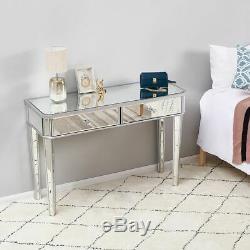 Mirrored Vestibule Console Bureau En Verre 2 Tiroirs Chambre Robe Table D'affichage Table