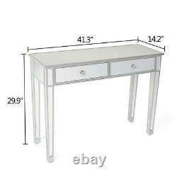 Modern Mirrored Venetian Glass 2 Tiroir Dressing Console Table Argent