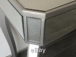 Moderne En Verre Vénitien Mirrored 1 Console Dressing Tiroir Table Argent Intérieur